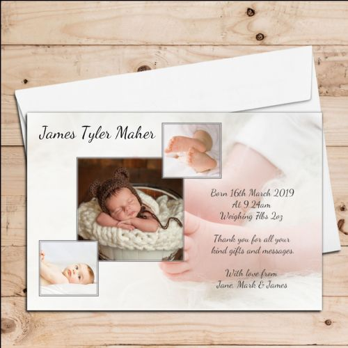 10 Personalised Girls Boys Baby Birth Announcement Thank You Photo Cards N45